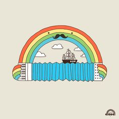 there's just something about a rainbow and a mooostache and an accordion...
