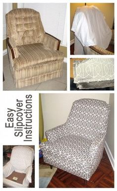 Easy slipcover instructions remodelaholic.com #slipcover #furniture #update #budget