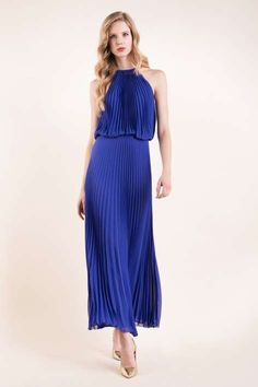 Abiti da sera estate 2016 - Long dress plissé Luisa Spagnoli