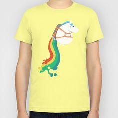 Fat Unicorn on Rainbow Jetpack Kids T-Shirt $20 (various colors)
