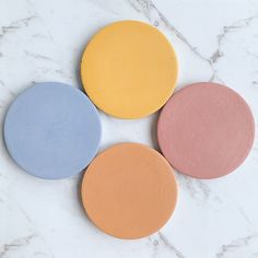 Colourful Round Concrete Coaster - Set (x Concrete Ring, Colour Story, Ring Displays, Color Ring, Coaster Set, Color Splash, Abstract, Modern, Handmade