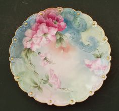 """Limoges France Antique Hand Painted Pink Petunias Plate Charger 12 1 8"""" 