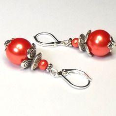 Boucles  d'oreilles perles verre nacré orange sur supports dormeuses argentés
