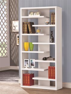 Bookcase Display Cabinet in White Finish by Coaster - 800147