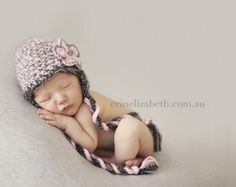 Newborn Baby Girl Pink and Gray Flower Earflap Crochet Hat, Great for Photo Prop