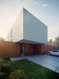 Anna Misiura and Luke Kabarowski of Kabarowski Misiura Architects have designed their Highly-contrasted House in Zabrodzie, near Wroclaw, with an L-shaped plan and usable area of 290 (with gar Minimal Architecture, Modern Architecture House, Beautiful Architecture, Residential Architecture, Architecture Details, Interior Architecture, Arch House, Villa, Bauhaus