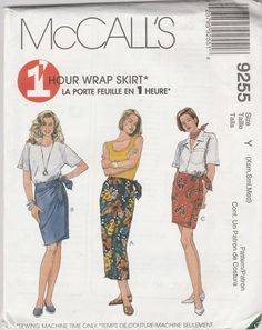McCall's 9255 Size Xsm-Sml-Med 1 Hour Wrap Skirt Sewing Pattern 1998 Uncut by LadybugsandScorpions on Etsy