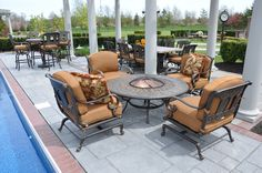 The St. Moritz Deep Seating Firepit collection uses prime grade cast aluminum that is engineered to last the ages.