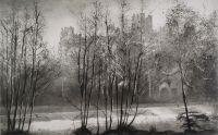 Norman Ackroyd, January Sunrise, Ludlow, Dinham Weir