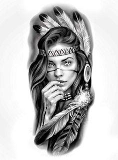 Skull Girl Tattoo, Girl Face Tattoo, Girl Face Drawing, Arm Tattoo, Girl Tattoos, Black Men Tattoos, Wolf Tattoos Men, Tattoo Black And Grey, Red Indian Tattoo
