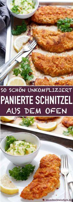 Schnitzel à milanesa do forno - Egg Recipes, Pork Recipes, Pasta Recipes, Milanesa, Oven Dishes, Hamburger Meat Recipes, Rabbit Food, Wild Rabbit, Air Fryer Recipes