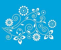 """8.3"""" x 6.8"""" (21cm x 17cm) Reusable Flexible Plastic Stencil for Graphical Design Airbrush Decorating Wall Furniture Fabric Decorations Drawing Drafting Template - Vintage Flowers Pattern"""