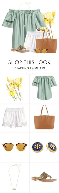 """Day at the Beach"" by flroasburn on Polyvore featuring H&M, Tory Burch, Ray-Ban, Kendra Scott and Jack Rogers"