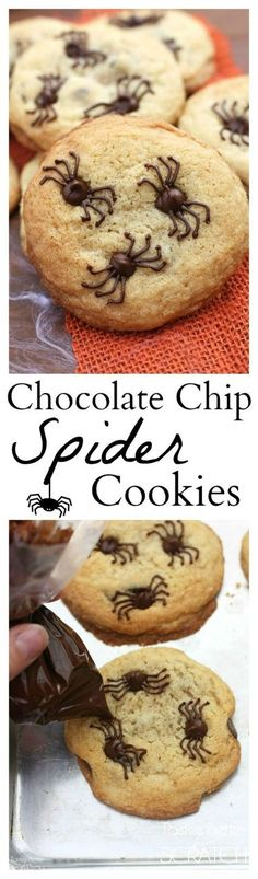 Pin for Later: halloween food recipes. Chocolate Chip Spider Cookies make the perfect fun and easy Halloween treat! Bolo Halloween, Postres Halloween, Halloween Baking, Halloween Goodies, Halloween Food For Party, Halloween Desserts, Holiday Baking, Creepy Halloween, Halloween Chocolate