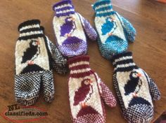 newfoundland knitting patterns for slippers Knitted Mittens Pattern, Knit Mittens, Mitten Gloves, Knitting Socks, Knitting Patterns Free, Free Knitting, Knitted Hats, Icelandic Sweaters, Fair Isle Knitting
