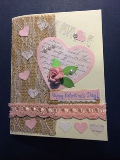 Cute pink card for Valentine's!  I love the lace over burlap...