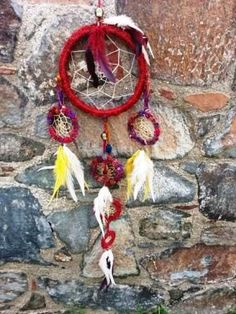 Large dreamcatcher red mobile  recycle indian by handmadebyfofo, $58.00