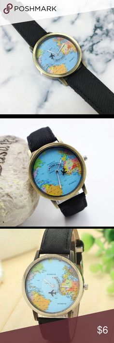 Unisex travel watch urban outfitters urban outfitters unisex and wanderlust globe travel watch unisex new world map nwt gumiabroncs Gallery
