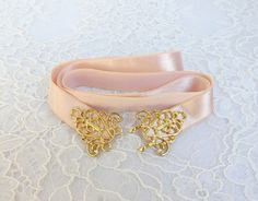 Light peach elastic waist belt. Gold filigree buckle. Bridal/ Bridesmaid peach waist belt