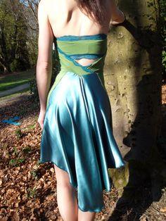 The Peacock Tango Dress with Bandeau Bra. $140,00, via Etsy.