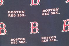 Dark blue background Boston Red Sox fabric for crafts Two pieces in this lot each 11 x 11 inches. Leftover scraps are cut unevenly.