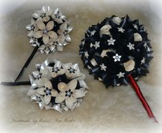 Origami Bridal order .. 2 bridesmaids and one bridal bouquet in black and ivory pearl with diamante and pearl embellishments