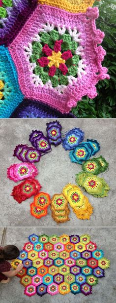 "Inspiration :: Hexagonal Throw, crocheted by nuts4fiber.  Pattern from book ""Cute Knit Accessories with Scrap Yarn"" by Kazuko Ryōkai.  (although title is ""Knit"", patterns are for crochet)   . . . .   ღTrish W ~ http://www.pinterest.com/trishw/  . . . .   #afghan #blanket"