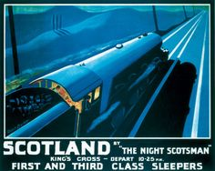 A wonderful vintage Travel Poster for the Flying Scotsman or The Night Scotsman to Scotland. This poster is of printing quality, high resolu. Posters Uk, Train Posters, Railway Posters, Retro Posters, Vintage Advertisements, Vintage Ads, Vintage Images, Vintage Travel Wedding, British Travel