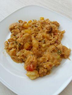 Sauerkraut mit Kräuterhänchen und Basilikum Sahne Soße. Ein leicht  Deftiges  Essen...aber macht sehr satt und geht schnell zu zaudern.