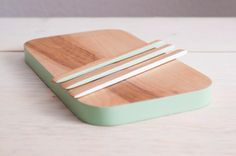 Cheese Board Set with Mint Ombre Accent by SilverPineWoodworks