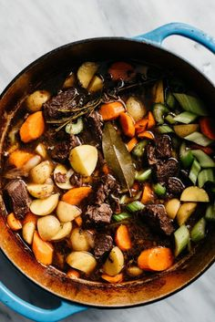 One of the first recipes I reach for when the weather gets cold is a hearty one pot meal, like this classic red wine beef stew braised in a dutch oven with vegetables, fresh herbs, and lots of dry red wine. This rich and decadent Sunday dinner recipe is so full of flavor, incredibly satisfying, and naturally paleo and gluten free. It's the ultimate healthy comfort food to feed (and impress!) a crowd. #beef #stew #beefstew #comfortood #onepot Healthy Soup Recipes, Whole Food Recipes, Skillet Recipes, Oven Recipes, Kitchen Recipes, Recipies, One Pot Meals, Meals For One, Sunday Dinner Recipes