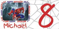 Personalized Spiderman Birthday Banner 3rd Birthday, Happy Birthday, Personalized Birthday Banners, Party Banners, Spongebob, Party Themes, Spiderman, Hello Kitty, Birthdays