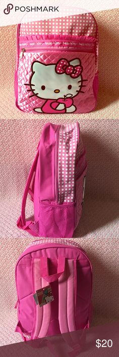 Hello Kitty Backpack pink hello Kitty backpack, One big compartment and a smaller one as shown, to side compartments to store drinks, straps are adjustable, 16 inches tall and 6 inches wide Hello Kitty Accessories Bags