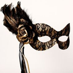 Beautiful Black and Gold Lace Masquerade Mask Masked Ball Pa ...