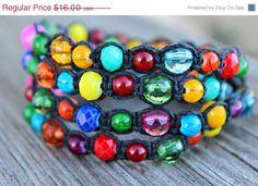 ON SALE Beaded Wrap Bracelet/Necklace Multicolored by hempkitty