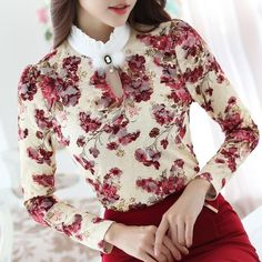 Discount Up to 2018 Casual winter Autumn High Collar print Crochet Lace Blouses Women Ladies Tops Lace Women Blouses Long Sleeve Shirt Top Mode, Women Sleeve, Plus Size Womens Clothing, Floral Blouse, Floral Lace, High Collar, Lace Tops, Shirt Blouses, Lace Blouses
