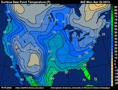 Map showing isobars and the surface dew temperatures.. Weather maps are one the first form  information graphics used in broadcast and at one point print.   http://ww2010.atmos.uiuc.edu/wx/cwp/prods/current/sfctdp/sfctdp_N.gif
