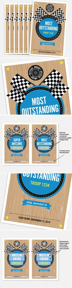 52 Printable Style Awards. Great for Pinewood Derby.