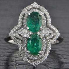 Distinctive+Twin+Emerald+and+Diamond+Ring++$1,899.00
