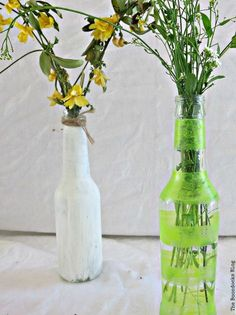 Bottles painted with chalk paint and nail polish, My Spring Roll Bottles theboondocksblog.com
