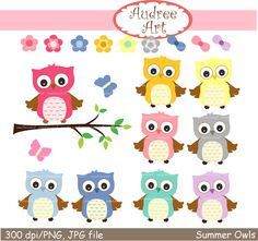 Owls clip art cute owls on the branchwoodland by Audreeartclipart