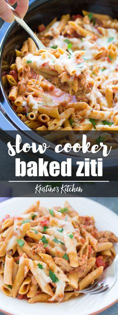 This Slow Cooker Baked Ziti is made with ground turkey and whole wheat pasta. The pasta cooks right in your crock pot so it soaks up the delicious flavor of the sauce. This healthier slow cooker pasta recipe is a simple comfort food dinner for your family! #pasta #slowcooker #slowcookerrecipes #crockpot #crockpotrecipes