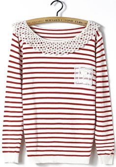 Red White Striped Long Sleeve Contrast Hollow Sweater - Sheinside.com