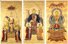 The three principles gods of Taoism, with their illuminated auric fields.