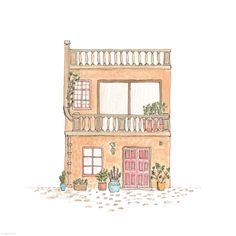House Illustration, Pencil Illustration, Sweet Drawings, Romantic Paintings, Cute House, House Drawing, Art Themes, Floral Illustrations, Cute Art