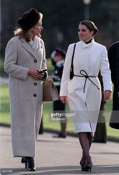 The Royal Family Of Jordan Attending The Sandhurst Military Academy Passing Out Parade In Surrey. Queen Noor And Queen Rania.