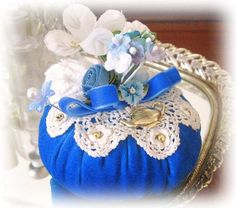 PINCUSHION - Royal blue velveteen  You are viewing a special handmade pincushion.  It is approximately 4 Diameter.    FEATURES:  Royal blue