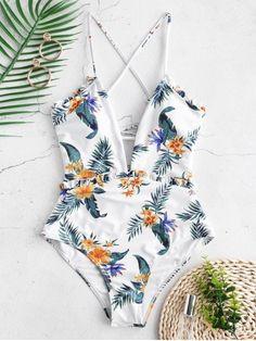 ZAFUL High Rise Flower Frilled Lace-up Swimsuit, Source by Swimwear on body Push Up Bikini, Bikini Sets, Bandeau Bikini, Tankini, One Piece Swimsuit Trendy, 1 Piece Swimsuit, Swimsuit Cover, Red Swimsuit, Cute Bathing Suits