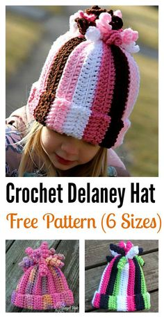 Crochet Baby Hats Cute Delaney Hat Free Crochet Pattern - The Delaney crocheted hat is a great hat that everyone will love. You can make them with the instructions from the Cute Delaney Hat Free Crochet Pattern. Bonnet Crochet, Crochet Beanie Pattern, Crochet Cap, Crochet Girls, Crochet For Kids, Girl Crochet Hat, Kids Crochet Hats Free Pattern, Childrens Crochet Hats, Easy Crochet Hat