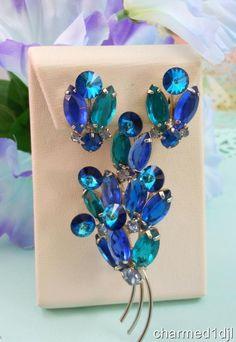 Vintage Blue Aqua Rivoli Rhinestone Brooch Pin Clip Earring Set Silver Tone…SOLD